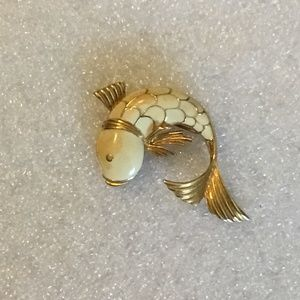 Vintage signed Monet fish brooch or pin